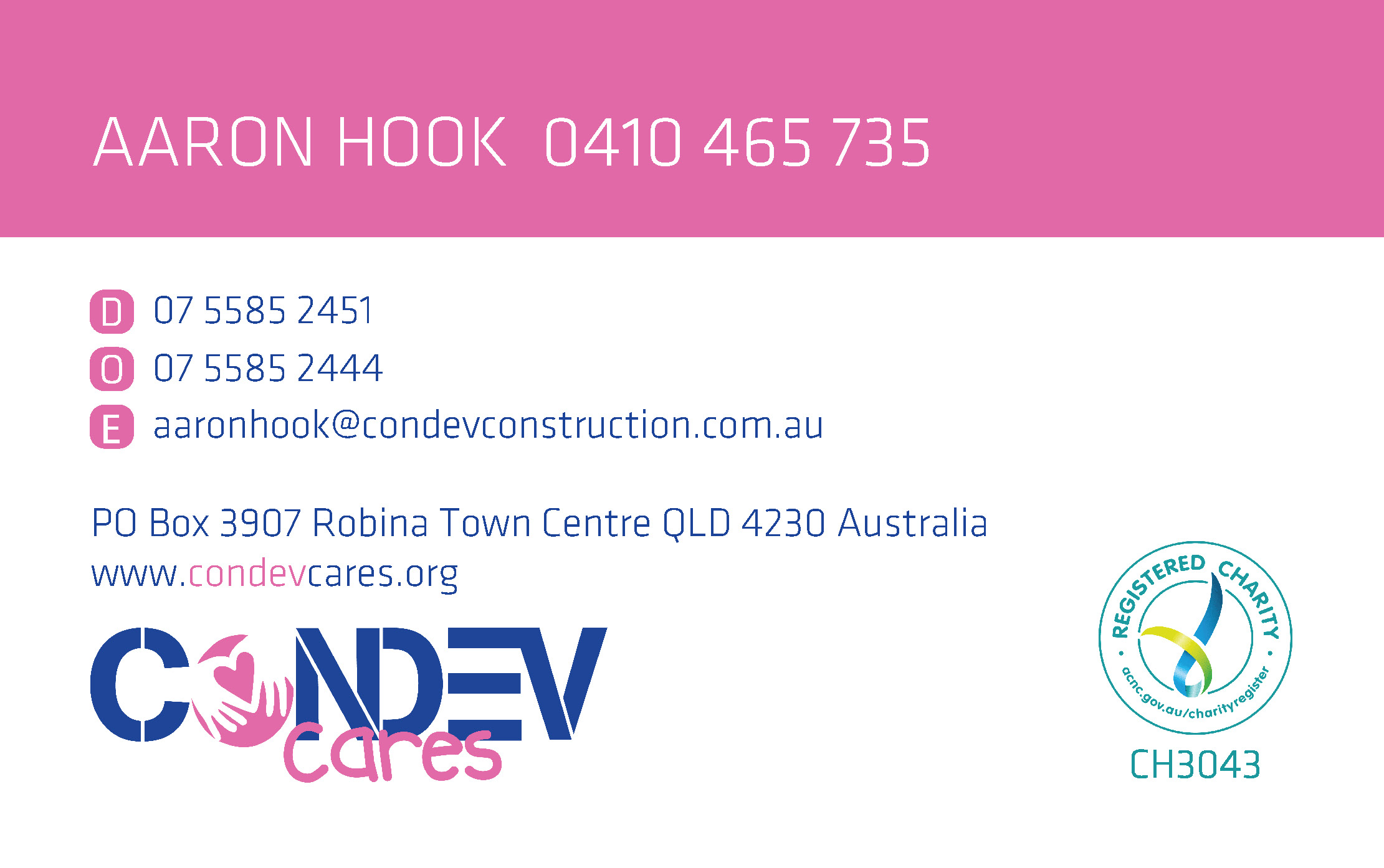 Condev Cares - Gold Coast - With Direct Number